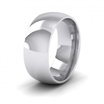 950 Platinum 8mm Court Shape (Comfort Fit) Extra Heavy Weight Wedding Ring