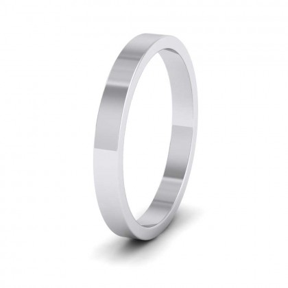 950 Platinum 2.5mm Flat Shape Extra Heavy Weight Wedding Ring
