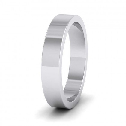 950 Platinum 4mm Flat Shape Super Heavy Weight Wedding Ring