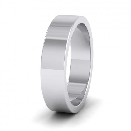 950 Platinum 5mm Flat Shape Super Heavy Weight Wedding Ring