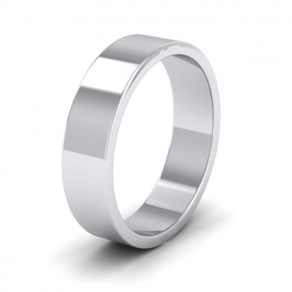 950 Platinum 5mm Flat Shape Extra Heavy Weight Wedding Ring