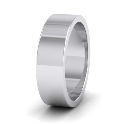950 Platinum 6mm Flat Shape Super Heavy Weight Wedding Ring