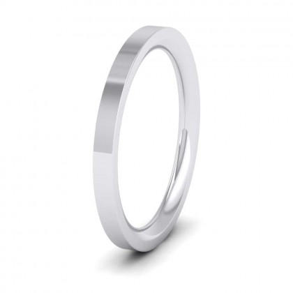 950 Platinum 2mm Flat Shape (Comfort Fit) Super Heavy Weight Wedding Ring