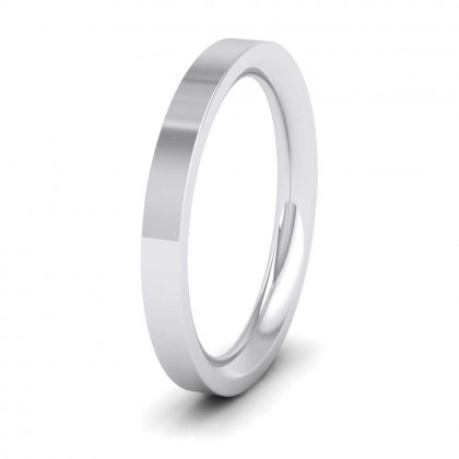950 Platinum 2.5mm Flat Shape (Comfort Fit) Super Heavy Weight Wedding Ring