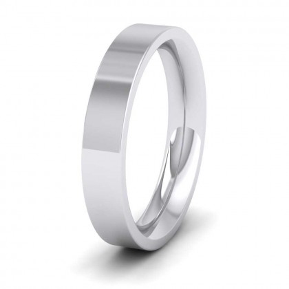 950 Platinum 4mm Flat Shape (Comfort Fit) Super Heavy Weight Wedding Ring