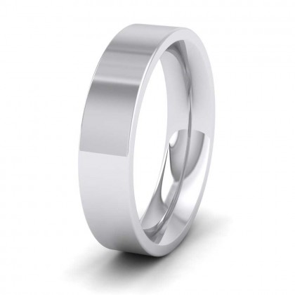 950 Platinum 5mm Flat Shape (Comfort Fit) Super Heavy Weight Wedding Ring