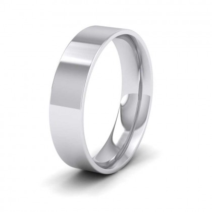 950 Platinum 5mm Flat Shape (Comfort Fit) Classic Weight Wedding Ring