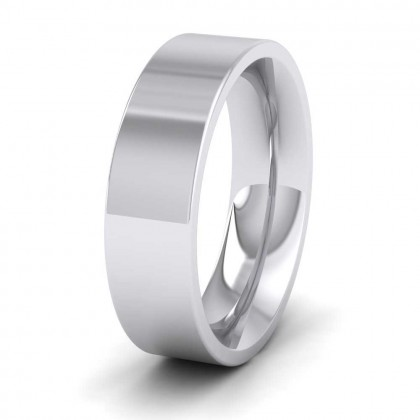 950 Platinum 6mm Flat Shape (Comfort Fit) Super Heavy Weight Wedding Ring
