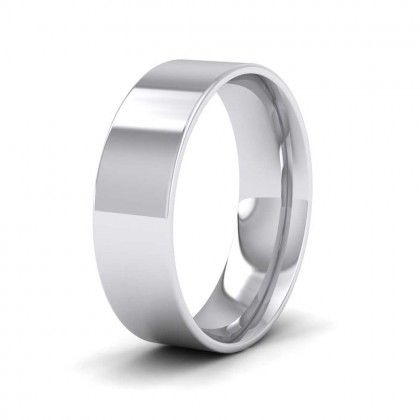 950 Platinum 6mm Flat Shape (Comfort Fit) Classic Weight Wedding Ring