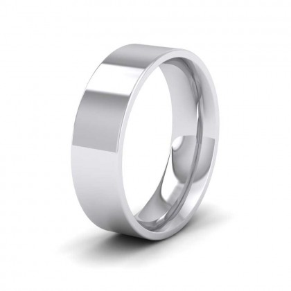950 Platinum 6mm Flat Shape (Comfort Fit) Extra Heavy Weight Wedding Ring