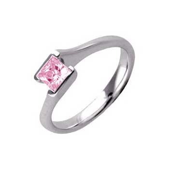 950 Platinum Single Stone Princess Cut Pink Sapphire Ring