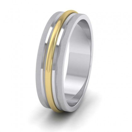 950 Platinum and Yellow Gold 6mm Flat Shape Two Colour Centre Band Patterned Wedding Ring