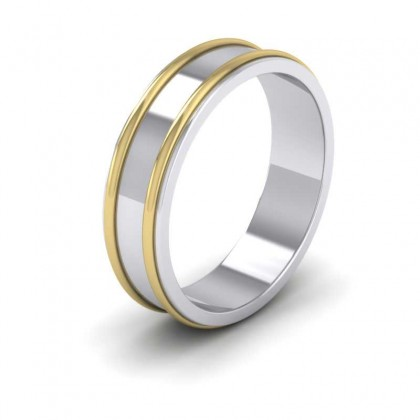 950 Platinum and Yellow Gold 6mm Flat Shape Two Colour Patterned Wedding Ring