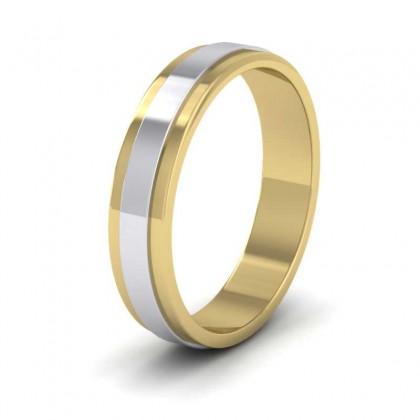 950 Platinum and Yellow Gold 4mm Flat Shape Two Colour Wedding Ring