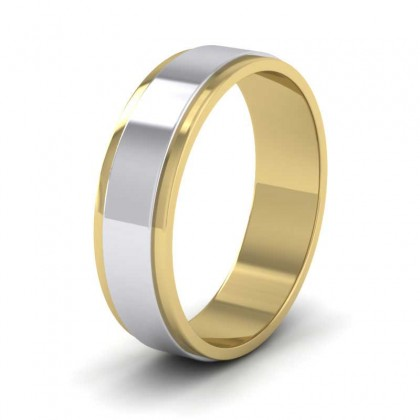 950 Platinum and Yellow Gold 6mm Flat Shape Two Colour Wedding Ring