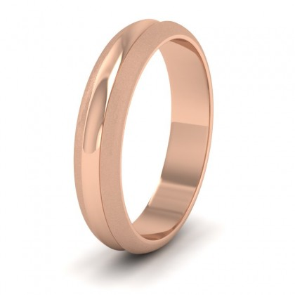 Bullnose Groove Pattern 18ct Rose Gold 4mm Wedding Ring