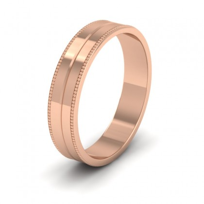 Millgrain And Line Pattern 18ct Rose Gold 4mm Flat Wedding Ring