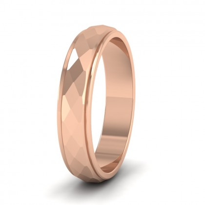 Facet And Line Pattern 9ct Rose Gold 4mm Wedding Ring
