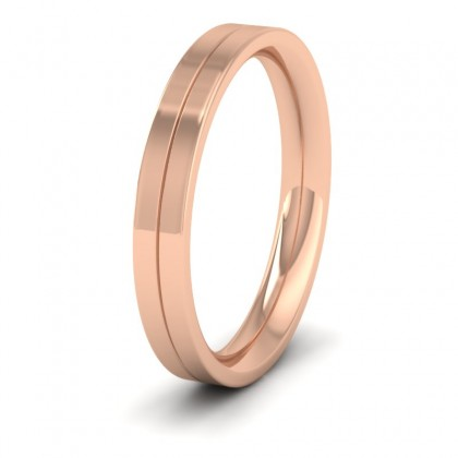9ct Rose Gold 3mm Wedding Ring With Line