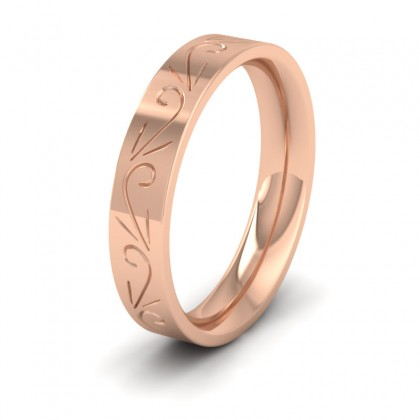 Engraved Flat 9ct Rose Gold 4mm Wedding Ring