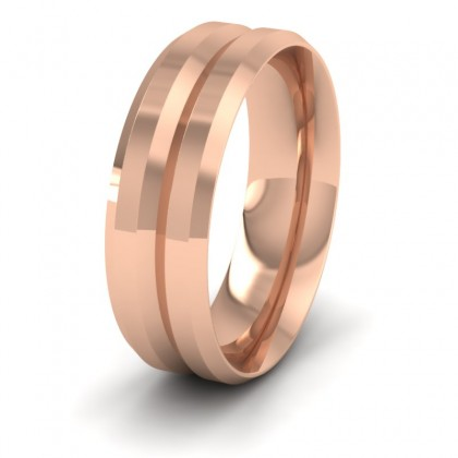 Bevelled Line Patterned 9ct Rose Gold 7mm Wedding Ring