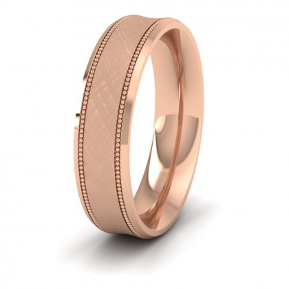Hatched Centre And Millgrain Patterned 9ct Rose Gold 5mm Wedding Ring