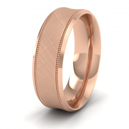 Hatched Centre And Millgrain Patterned 18ct Rose Gold 7mm Wedding Ring