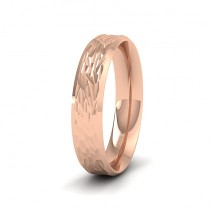 Bevelled Edge And Hammered Centre 9ct Rose Gold 4mm Wedding Ring