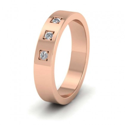 Three Diamonds With Square Setting 9ct Rose Gold 4mm Wedding Ring