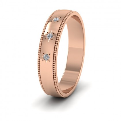 Millgrained Edge And Three Star Diamond Set 9ct Rose Gold 4mm Wedding Ring
