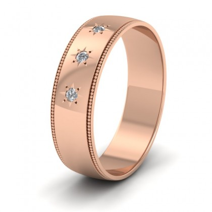 Millgrained Edge And Three Star Diamond Set 9ct Rose Gold 6mm Wedding Ring