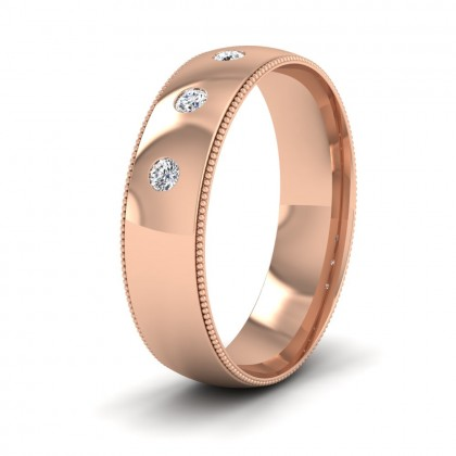 Diamond Set And Millgrain Edge 9ct Rose Gold 6mm Wedding Ring