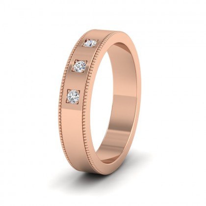 Three Diamonds With Square Setting 9ct Rose Gold 4mm Wedding Ring With Millgrain Edge