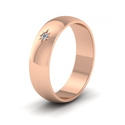 Single Star Diamond Set 9ct Rose Gold 6mm Wedding Ring