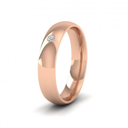 Single Flush Diamond Set 18ct Rose Gold 5mm Wedding Ring