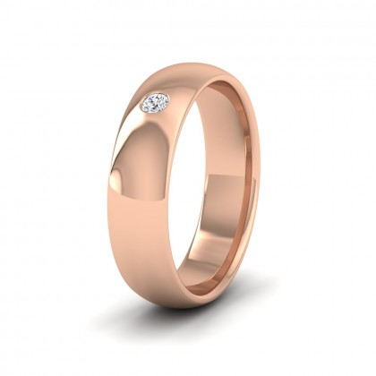Single Flush Diamond Set 9ct Rose Gold 6mm Wedding Ring