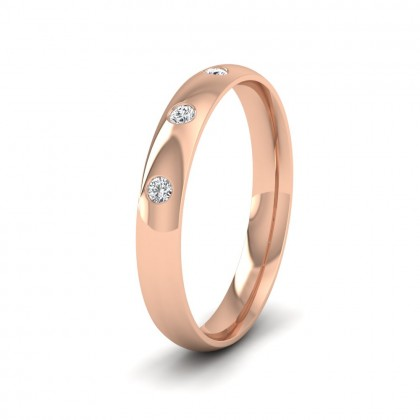 Three Diamond Flush Set 9ct Rose Gold 3mm Wedding Ring