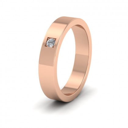 Single Diamond With Square Setting 18ct Rose Gold 4mm Wedding Ring