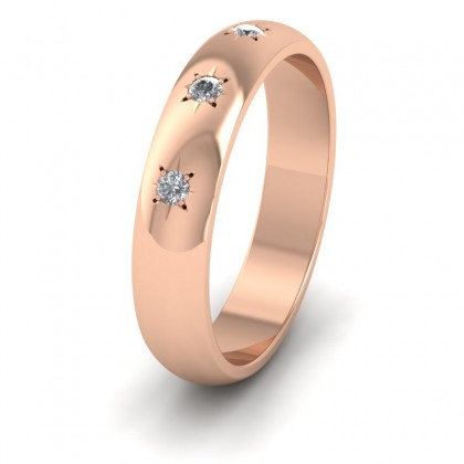 Three Star Diamond Set 9ct Rose Gold 4mm Wedding Ring