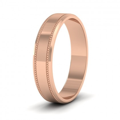 Bevelled Edge And Millgrain Pattern 18ct Rose Gold 4mm Flat Wedding Ring