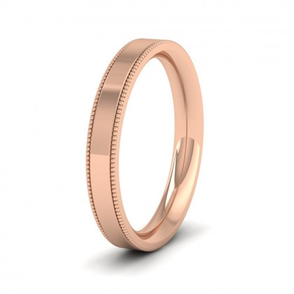 Millgrain Edge 18ct Rose Gold 3mm Flat Comfort Fit Wedding Ring