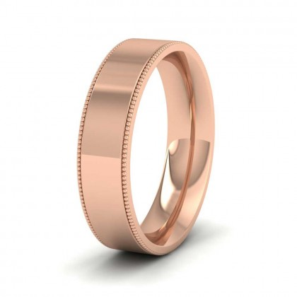 Millgrain Edge 9ct Rose Gold 5mm Flat Comfort Fit Wedding Ring