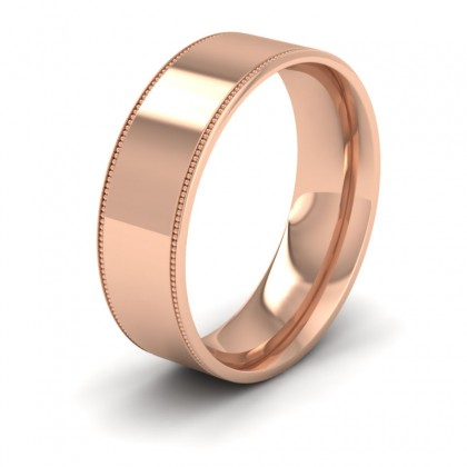 Millgrain Edge 9ct Rose Gold 7mm Flat Comfort Fit Wedding Ring