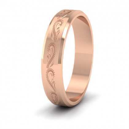 Engraved 9ct Rose Gold 4mm Flat Wedding Ring With Bevelled Edge