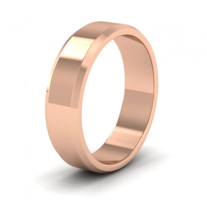 Bevelled Edge 18ct Rose Gold 6mm Wedding Ring