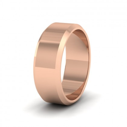 Bevelled Edge 9ct Rose Gold 8mm Wedding Ring