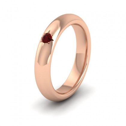 Ruby Star Set 18ct Rose Gold 4mm Wedding Ring
