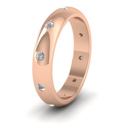 Ten Diamond Set Flush 9ct Rose Gold 4mm Wedding Ring
