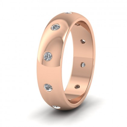 Ten Diamond Set Flush 9ct Rose Gold 6mm Wedding Ring