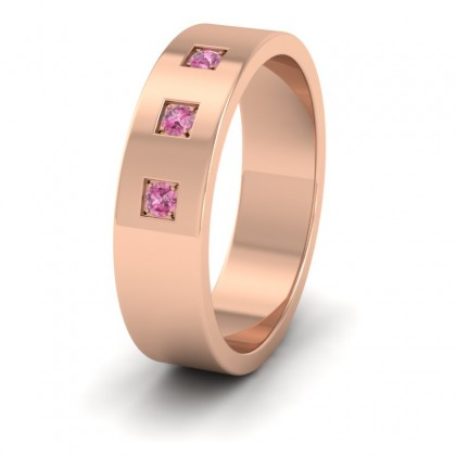 Three Pink Sapphires With Square Setting 9ct Rose Gold 6mm Wedding Ring
